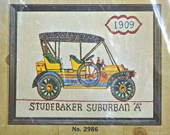 NOS Crewel Embroidery Kit- Creative Needlecraft Antique Automobile Needlepoint Kit with Fabric, Yarn, Etc., New in Package