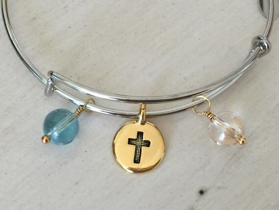 Adjustable Bangle with Cross & Crystal Charms