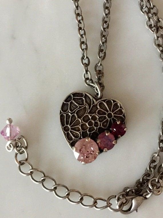 Swarovski Light Amethyst Crystal Necklace, Amethyst Crystal Necklace,  Swarovski Cyclamen Opal Necklace, Swarovski Purple Crystal Necklace