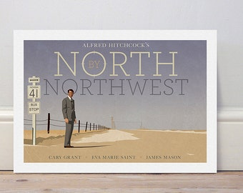 Movie poster Hitchcock's 'North by Northwest' colour print
