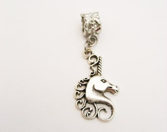 Unicorn  Charm Silver Unicorn  Charm European Charms Large Hole Big Hole Bead Jewelry Supplies European Bead