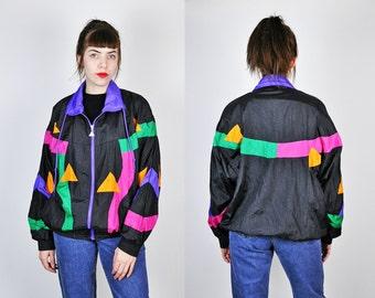 90s Windbreaker, Geometric Print Windbreaker, Abstract Print Jacket, Memphis Design Print, Lightweight Jacket, 80s Windbreaker Large