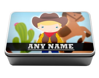 Personalised Cowboy 3 Metal Storage Tin Box 034 - Kids, Christmas, Birthday, Present , Pencils, Crayons
