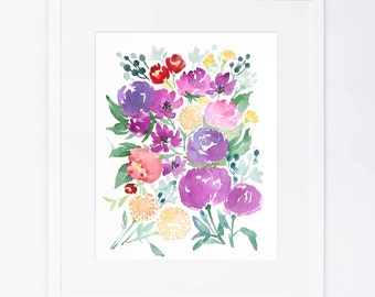 Purple Red Yellow Watercolor Floral Cluster