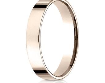 Flat Comfort Fit Wedding Ring 4mm 14kt Rose Gold, 14kt White Gold, 14kt Yellow Gold, Flat Ring, Flat Band, Wedding Band, 4mm Wide Ring