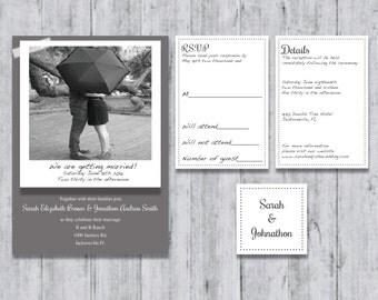 Custom Polaroid Wedding Invitation Suite