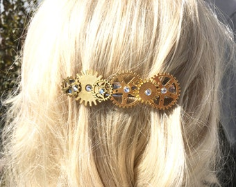Steampunk Hair Accessory Jewelry, Steampunk Hair Clip, Steampunk Bride, Steampunk Jewelry, Metal Gear Barrette #PR301