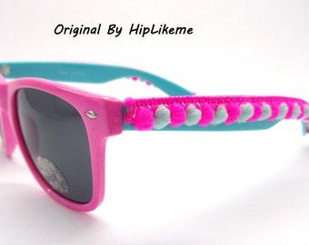 Handmade wayfarer sun glasses, Pompom sunglasses, beaded sunglasses, Bohemian sunglasses, boho chic Sun Glasses, tassel sungalsses
