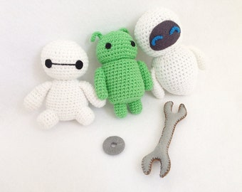 Baymax, Android, Eve Robot Crochet, nursery decor, robot amigurumi, Crochet robot, Handmade crochet Robot, Robot gift