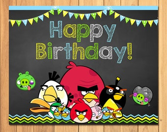 Angry Birds Happy Birthday Sign Chalkboard * Angry Birds Birthday Sign * Angry Birds Party Favors * Angry Birds Birthday Party Printables
