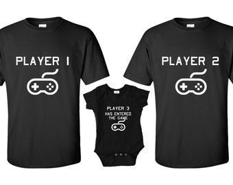 Player 3 has entered the game, Player 1 Player 2, Player 3, matching shirts, Baby One Piece Bodysuit, Newborn, baby gift, push gift