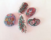 valentines day gift  branch  floral Set of 5 hand painted beach rocks Stone magnet fridge  table decor napkins paperweight wedding favors