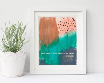 CLEARANCE 8x10 Take Heart I Have Overcome The World Scripture Art Handpainted Abstract Print