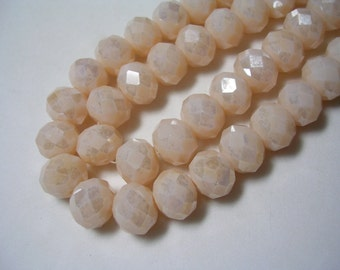 Champagne Crystals 8mm X 10mm Ivory Crystal Rondelles Bone Colored Glass Faceted Beige Beads 20 inch strand 65 Crystals Sparking Ivory Beads