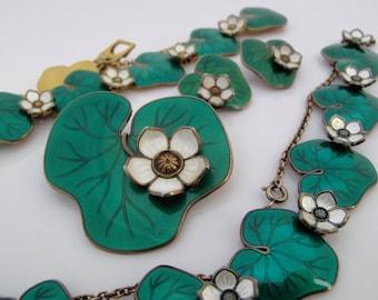 David Andersen D-A Water Lily Lily Pad Sterling Enamel Norway Parure Necklace Bracelet Earrings Pin Willy Winnaess Green