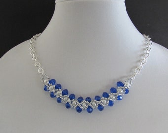Royal Blue Czech Glass and White Glass Pearl Necklace and Earrings