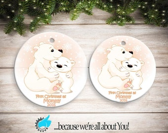 Personalized First Christmas as Mommy Girl Polar Bear Ornament, Customized Christmas Ornament, Stocking Suffers, Great Gift!