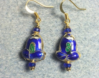 Blue cloisonné frog bead earrings adorned with blue Chinese crystal beads.
