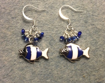 Dark blue and white striped enamel fish charm earrings adorned with tiny dangling dark blue Chinese crystal beads.