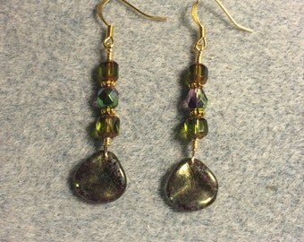 Green with purple speckles Czech glass rose petal dangle earrings adorned with green and purple Czech glass beads.