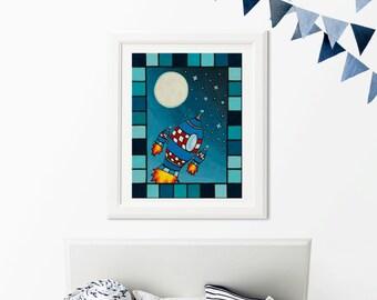 rocket illustration, rocket canvas, kids room, nursery decor, kids art for chidren bed room, art for children, space theme, rocket paintaing