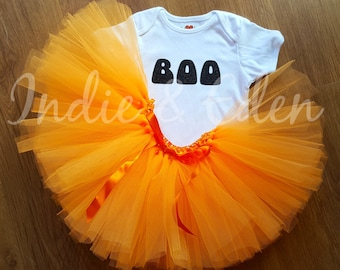 Baby girls Halloween Boo tutu fancy dress costume babysuit birthday glitter orange personalised one set photo prop cake smash