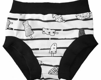Ice Cream Bummies/Monochrome Bummies • (Baby Bummies, Baby Bloomers,Diaper Cover,Toddler Bummies,Toddler Bloomers,Birthday Outfit,Shorties)