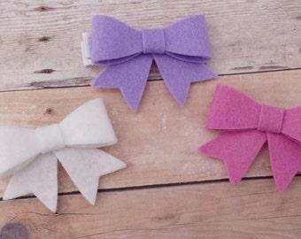 CHOOSE ANY THREE / 30+ Colors - Mini Wool Felt Bow with Tails Hair Clip / Mini Felt Hair Bow Clip / Mini Bow Trio Set / Mini Felt Bow Clip