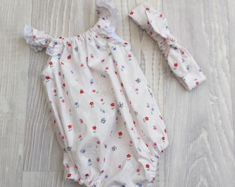 Seaside Playsuit Romper and headband - size 000