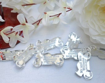 MOTORCYCLE Silver Acrylic PERSONALISED wedding Table Confetti Scatter Favours