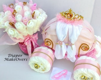 Princess Carriage And Diaper Bouquet Combo   Diaper Cake   Baby Shower Gift    Baby Girl