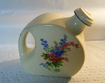Vintage Universal Canbridge 1940's Water Pitcher with Flower Spray