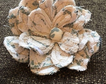 Handmade Upcycled Denim and Lace Shabby Chic Flower Pin, Blue and White