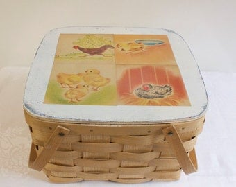Vintage 1980s Picnic Basket Decoupaged with pages from vintage book Baby Susan's chicken - Easter decor