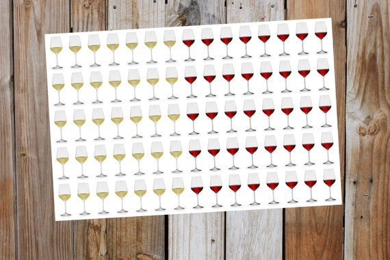 Wine Glass Planner Stickers 2 Sizes To Choose By