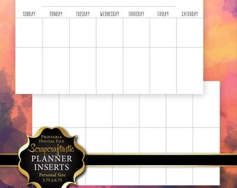 Undated Horizontal Month Printable Personal Planner Insert Refill with 3 different font styles (00206)