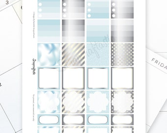 Sky Blue and Silver Monthly Layout Printable Planner Stickers for the MAMBI Happy Planner