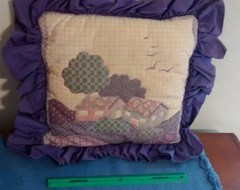 Decorative Pillow Purple Ruffles Cottage Scenic Country Shabby Chic Farmhouse Birds Vintage