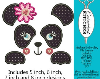 Panda Face Applique Machine Embroidery Design 4 Sizes Included Instant Download