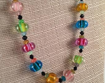 multi color glass bead necklace.
