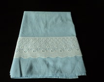 French Vintage blue cotton babies sheet  (01761)