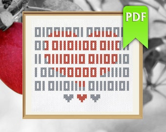 I love you in binary code simple nerdy cross stitch pattern. Instant download!