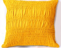 Yellow Textured Cushion Cover
