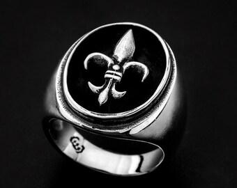 Sterling Silver Fleur De Lys Ring-Fleur De Lys Chevalière-lily flower Silver Ring-Men Signet Ring-Women Signet Ring-Fleur De Lys Signet Ring