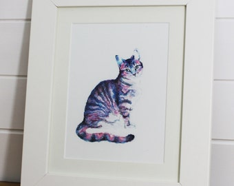 Tabby Cat Watercolour Fine Art PRINT