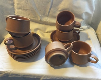 Purbeck Pottery Toast Mugs & Saucers x 6 Retro