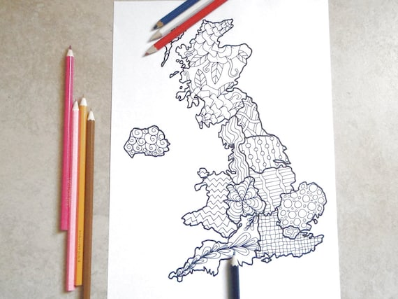 Cartina regno unito da colorare per adulti gran bretagna - Mappa dell inghilterra per i bambini ...