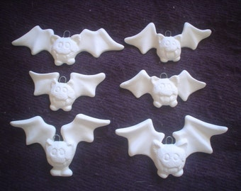 "Ceramic Bisque 6 Hanging Vampire Bats/Ornaments:3' - 4"" wide-Ready to Paint-C656"
