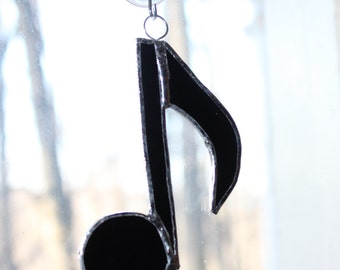 Handmade Stained Glass Musical Note Suncatcher. Perfect Gift for Musician or Music Teacher
