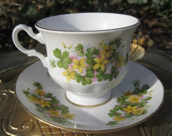 Yellow Blossoms and Shamrocks  Queen Anne Teacup and Saucer A57 l